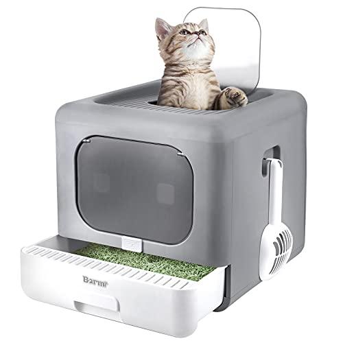 BARMI Katzentoilette hop in mit gerilltem Deckel, Keine Verbreitung von Streu