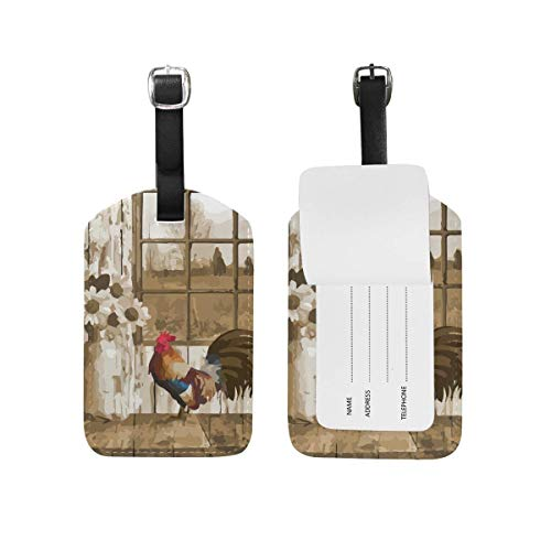 Sunset at The Beach Luggage Tag PU Leather Name ID Labels for Travel Bag Suitcase Set of 2 model10598