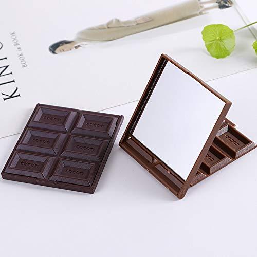 Nouveau miroir mignon pliable miroir de maquillage miroir au chocolat en forme de poche carrée en forme de poche de poche carrée + fille en plastique fille belle Miroir de maquillage