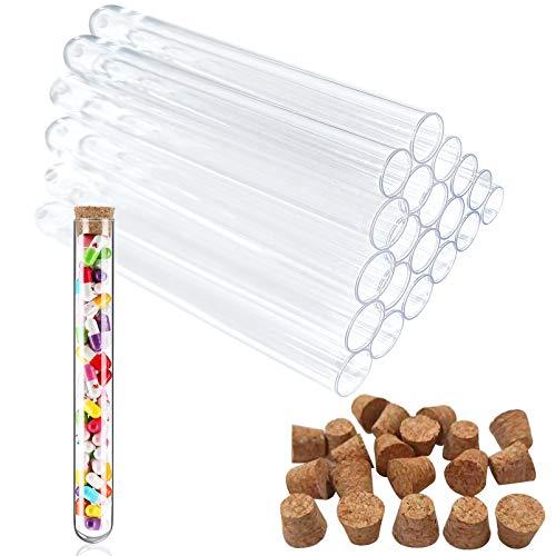 20ml Reagenzglas,20 Reagenzgläser Kunststoff,Reagenzglas mit Natur-Korken,Transparent Reagenzglas,Reagenzröhrchen,Klein Kunststoff Reagenzglas,Reagenzgläser aus Kunststoff mit Natur-Korken