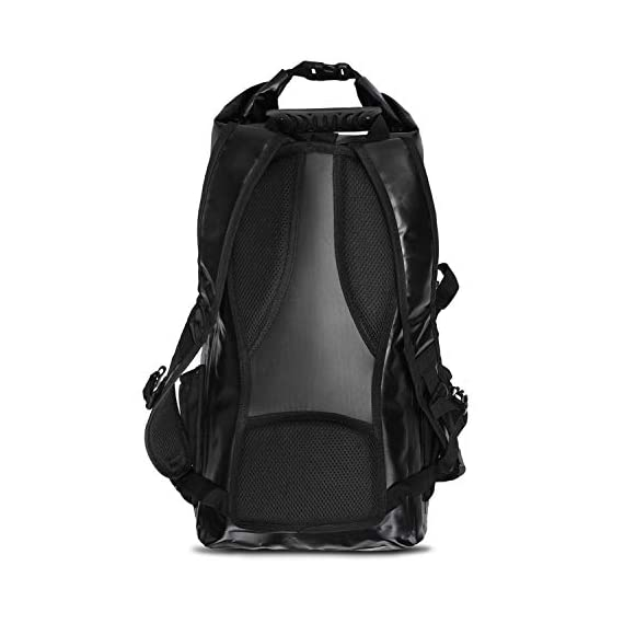 FE Active Dry Bag Waterproof Backpack - 20L Eco Friendly Hiking Backpack. Ideal for Camping Accessories & Fishing Gear… 5 DESIGN: The Huntington is made of environmentally safe PVC tested and certified. Bungee cords to hold tackle box, fly fishing gear, yoga mat, camping supplies and outdoors survival kits. Complimentary carabiner attached to increase utility. Roll top waterproof design makes for great extra large safe storage for gadgets like cell phone, camera equipment, clothes, and money. Chest strap keeps pack securely on while on a motorcycle, bike, sea doo, jet ski, snorkeling, or skateboarding CONSTRUCTION: Dry bag made of thick marine grade 5mm eco friendly Vinyl Tarpaulin with high frequency welded stitching made to withstand extreme outdoor activities. A must have for your emergency kit. Perfect dive bag where conditions are very wet. This 20L dry bag backpack includes padded shoulder straps with mesh lining for better air flow and built-in padded back support for more comfort. Includes exterior zipper mesh pocket to safely hold keys, sun glasses, and other items DIMENSIONS: Enjoy carrying everything you need with this professional waterproof backpack, which has a 20L capacity and measures 25.5 in long and 11.8 in wide. This heavy duty yet light backpack weighs 2 pounds ideal dry bag for your emergency kit. Rain and snow are no match for this dry bag. Used and trusted by our own USA military for its floating capabilities and ability to keep tactical gear dry. Also doubles as a great beach bag to keep your phone, lunch, towel, and accessories dry
