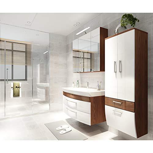 badmöbelset Badezimmer Hochgl. weiß/Walnuss mit großen Waschplatz inklusive Mineralgussbecken Spiegelschrank und großen Hochschrank