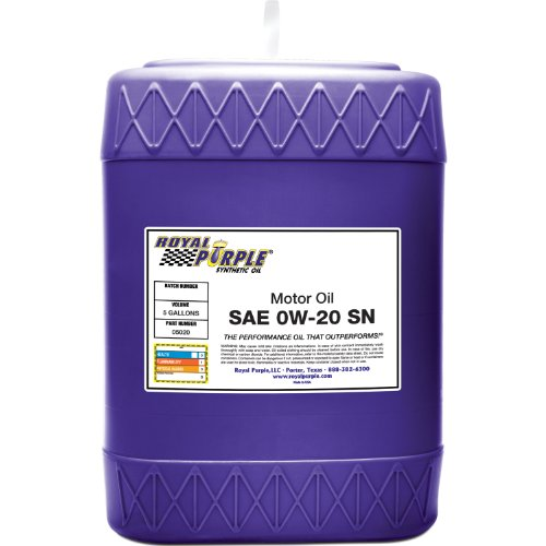 Royal Purple 05020 API-Licensed SAE 0W-20 High Performance Synthetic Motor Oil - 5 gal.