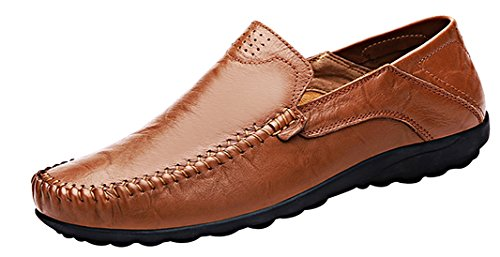 LOUECHY Men's Liberva Genuine Leather Slip-on Loafer Casual Shoes Breathable Driving Shoes 8201-44...
