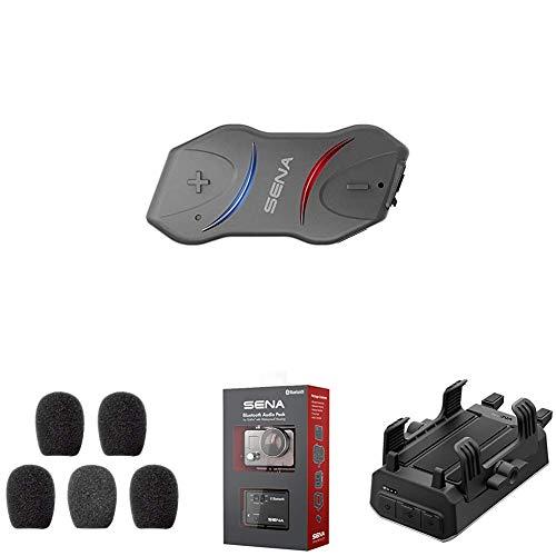 Sena Auricular e intercomunicador Bluetooth + Espumas de Protección para Micrófono + Micrófono Bluetooth Pack para GoPro + Sena Powerpro-01 Soporte para Manillar