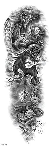 Ángel Reloj Devil'S Whole Arm 17X48cm-10Pcs Tatuaje Negro Para Mujer Diseños De Tatuaje Temporal Falso Cuerpo Brazo Pecho Hombro Tatuajes Tatuaje Para Realista Impermeable
