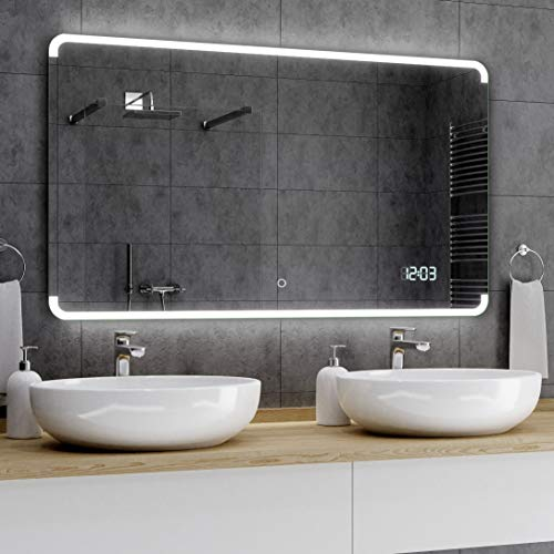 Alasta® Premium Badkamerspiegel met Verlichting - 100x140 cm - Model Assen - Spiegel met Aanraaklichtschakelaar en LED Klok