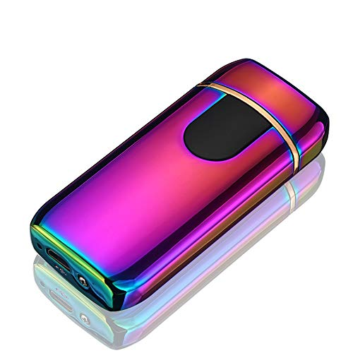 STKJ Oplaadbare aansteker Touch Ontsteking USB Opladen Windproof Plasma Aansteker voor Kaars, Sigaret Power Indicator Vlamloos, Rood, 1 stks