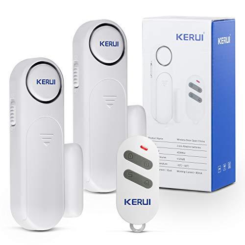 KERUI D121 120dB Sensor de Alarma Puertas y Ventanas con 2 Alarma de Puerta,3 Modos de Trabajo-Avisador Puerta Tienda,Alarma de Antirrobo Escalable para Sistema de Seguridad del Hogar