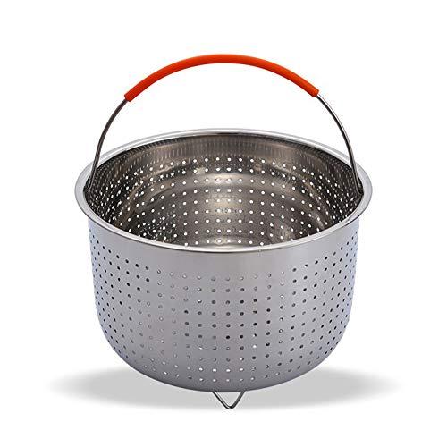 CNmuca Engrossar o aprofundamento multifuncional de aço inoxidável para frutas Plug-in Cabo de silicone Panela de pressão Cesta de vapor prata 3Qt
