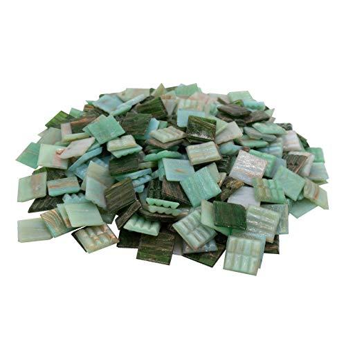 Mosaik-Profis Mosaiksteine Kupferschimmer (2x2 cm, 900g, ca. 340 St.) - buntes Mosaik ideal zum Basteln - Glasmosaik - Keine Kunststoffverpackung (Kupfer Grün Mix)