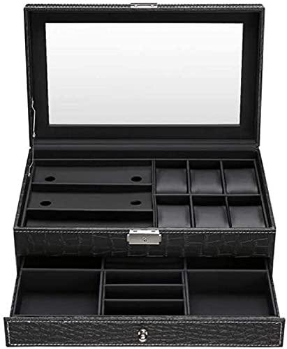 PLMOKN DFJU Caja de Reloj de Doble Capa con Llave de Bloqueo de Cristal Top de Vidrio Colección de joyería Regalo de Almacenamiento para Mujeres Caja de niñas (Color : Black)