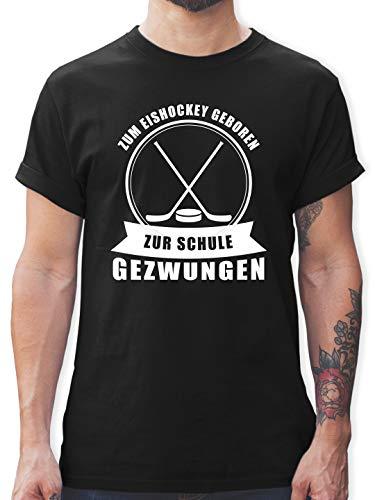 Eishockey - Zum Eishockey geboren. Zur Schule gezwungen - M - Schwarz - Eishockey Geschenk - L190 - Tshirt Herren und Männer T-Shirts