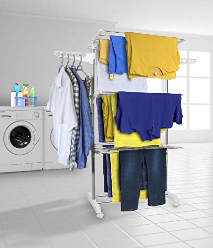 Hyfive Clothes Airer Drying Rack Extra Large 3 Tier Clothes Drying Rail Stainless Steel Folds Flat...