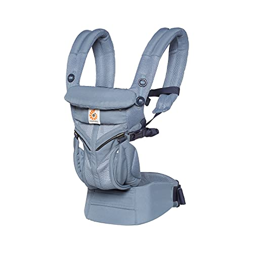 Ergobaby Marsupio Neonati Ergonomico a Bambino 20kg, Oxford Blue Cool Air Omni 360 4-Posizioni, Zaino Porta-Bebe per 0 Mesi
