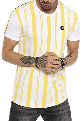Red Bridge Camiseta Manga Corta de Rayas para Hombres T-Shirts Logo Moda Amarillo