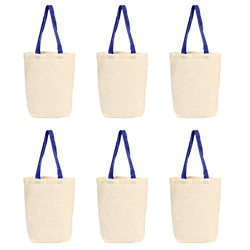 6 Pack Canvas Tote Bags ¡§C Design Your Own Party Favor Pack Tote Canvas Bags, 13x11x3.2 Inches