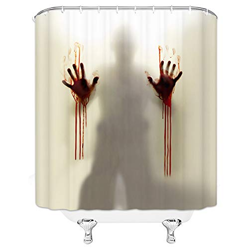 GOODCARE Help Me Scary Bloody Hands Silhouette Shadow Shower Curtain for Bathroom,Fabric Shower Curtain Set Including…