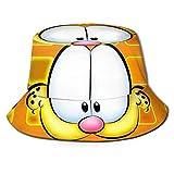 Bucket Hat Cute Garfield Bucket Sun Hat para Hombres Mujeres - Protección Gorra de Pescador de Verano Empacable para Pesca, Safari, Paseos en Bote en la Playa Negro