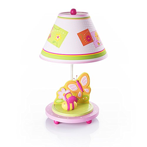 Guidecraft Hand-painted & Hand Crafted Gleeful Bugs Kids Table Lamp