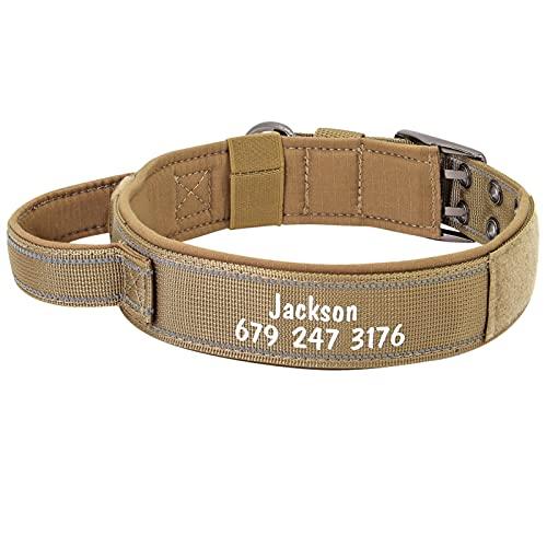 JIETAOMY Collar Perros Collar de Perro Militar Personalizado Accesorios tácticos Personalizados Cuellos de Perro de Pitbull Ajustable para Perros Grandes (Color : Brown, Size : L)
