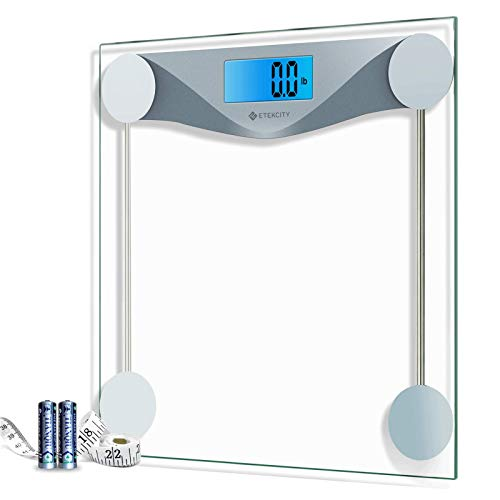 Etekcity Digital Body Weight Bathroom Scale with Body Tape Measure, Large Blue LCD Backlight Display, High Precision Measurements, 6mm Tempered Glass, 400 Pounds, Silver Massachusetts