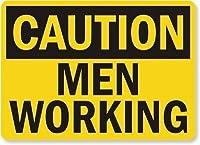 安全標識-注意-働く男性。インチ金属錫サインUV保護および耐候性、通知警告サイン