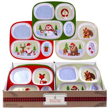 4-Section Kids Melamine Christmas Tray (Pack of 3 Styles) Xmas Party Favors