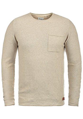 Blend Francisco Herren Strickpullover Feinstrick Pullover Mit Rundhals Und Brusttasche Aus 100% Baumwolle, Größe:M, Farbe:Down Mix (70812)
