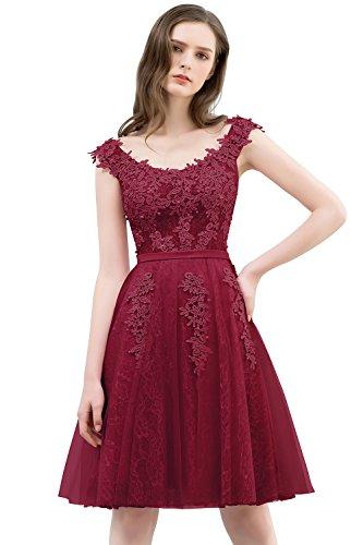 MisShow Damen Elegant Spitze Abendkleid Applique Brautjungfernkleid Cocktailkleid Tüll Kurz Wein rot 40