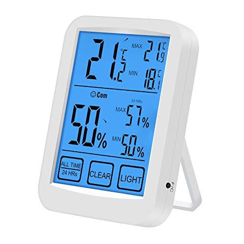 shoplease Raumthermometer, Digitales Hygrometer Innen, Hygrometer Thermometer mit Indicator, Luftfeuchtigkeitsmessgerät mit Großer LCD-Bildschirm für Raumklimakontrolle