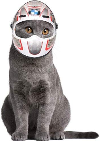 Feeyond Haustier Motorrad Helm Helm, Welpen Katze Hund Haustier Helm, Kopfschutzhelm Kleiner Outdoor Hut Motorrad Haustier Mini Helm,Weiß