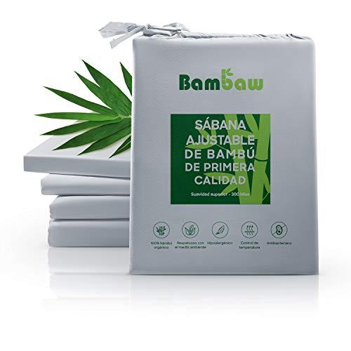 Bambaw Sábana Bajera de Bambú   Suave y Lujosa   Fitted Sheet   Tejido de Microfibra Bambu   Bed Sheets   Sostenible   Sábana Hipoalergénica   Transpirable   Gris - 150x200