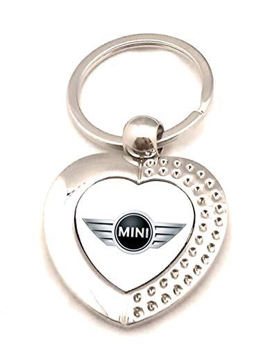 Schlüsselanhänger aus Metall, silberfarben, I Love – Mini Cooper