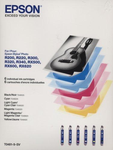 Epson 6 Pack Ink Cartridges (Big Value) for Stylus Photo Printers: R200, R220, R300, R320, R340, RX500, RX600, RX620