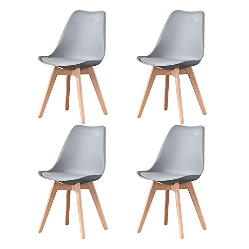 Sedie da pranzo moderne di metà secolo Set di 4 sedie da cucina imbottite grigie con gamba della sedia in materiale massello di faggio per soggiorno