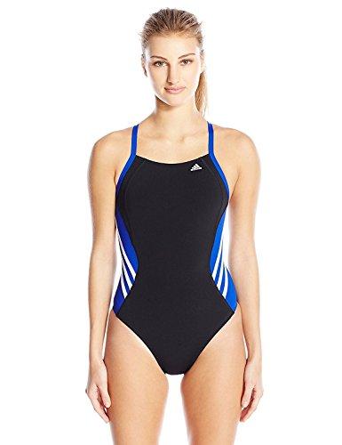 adidas Women's Solid Infinitex Splice Performance One Piece Swimsuit, Blue, 30