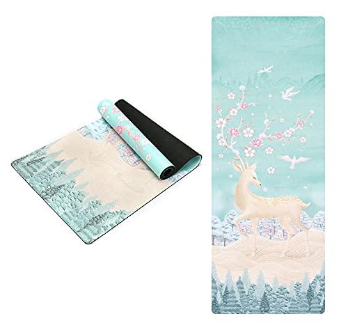 BBVS Colchoneta de yoga de goma de gamuza con impresión en color para mujeres y hombres, colchoneta de fitness antideslizante, ideal para yoga, meditación, pilates y gimnasia 183 * 61 * 0,3 cm