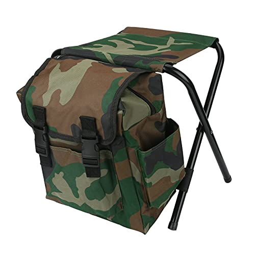 Welltop Outdoor Backpack Chair Fishing Backpack with Stool Camping Chair and Cooler Bag Backpack Folding Chair for Camping Picnic Hunting Fishing Hiking Beach BBQ