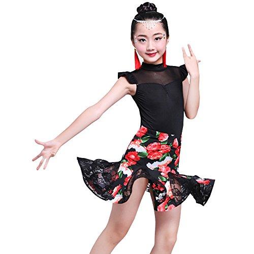 XFentech Filles Danse Vêtements sans Manches + Floral Jupe Ensemble Costumes de Danse Latine Performances Exercice Compétition Costume, Style-3/140