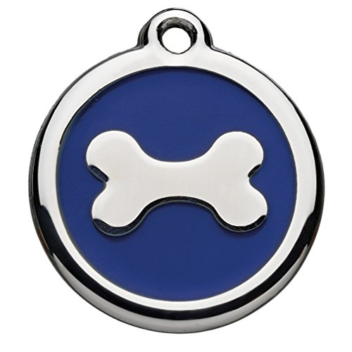 Foto Premio Tiermarke mit Gravur mit Knochen-Motiv   Hundemarke mit Name, inkl. Schlüsselring, aus Aluminium   Adressanhänger für Hund und Katze