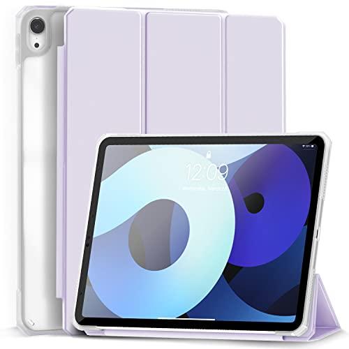 Gahwa Hülle für iPad Air 4 Generation 10,9 Zoll (Modell 2020), Superdünn Schutzhülle mit Transparenter Rückseitemit, Auto Schlaf/Weck Hülle Cover mit Trifold Ständer - Helles Lila