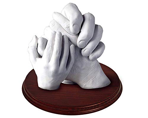 Machen Sie eine 3D-Skulptur aus Ihren Händen. Perfektes Geschenkset für Hochzeiten, Taufen, Muttertag, Vatertag, Weihnachten, Jubiläum, etc. 4/5 Hände (mit Ständer)