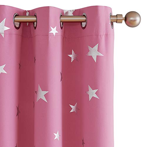 Deconovo Solid Thermal Insulated Blackout Curtains with Silver Star Pattern 38 x 63 Inch Pink 2 Panels