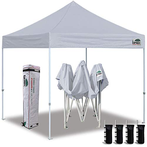 Eurmax 10'x10' Ez Pop Up Canopy Tent Commercial Instant Canopies with Heavy Duty Roller Bag,Bonus 4 Sand Weights Bags (Grey)
