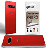 IPG for Samsung Galaxy S10 Plus Decorative Carbon Fiber Vinyl Back Protector Anti Scratch Skin Guard - 3D Surface - Bubble -Free Easy to Install (Pearl Red)