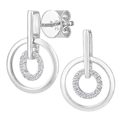 Naava Damen-Ohrhänger 9 Karat doppelt kreisförmige Tropfen Ohrringe 375 Weißgold rhodiniert Diamant 0,10 ct weiß Rundschliff DE1124W