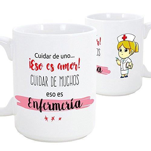 MUGFFINS Taza de desayuno original para regalar a trabajadores profesionales - Regalo para enfermeras - Cuidar de uno eso es amor, cuidar de muchos eso es enfermería- Cerámica 350 ml (1 unidad)