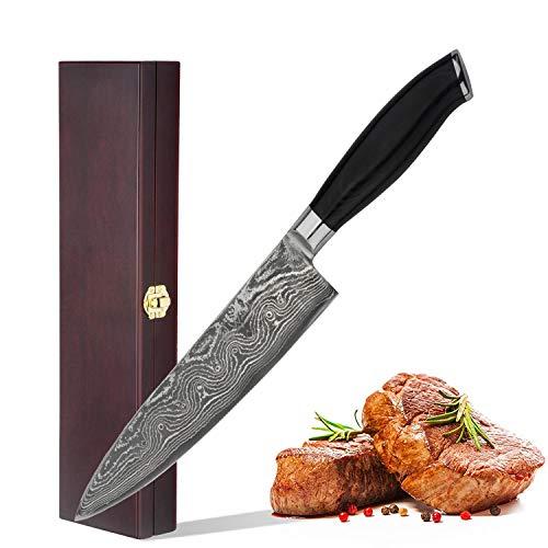 Wakoli Damastmesser (Chefmesser) japanischer Damaststahl VG-10, mit Holzverpackung, Wakoli King Serie