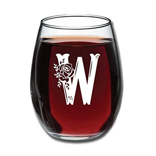 Bohohobo Libbey Weinglas ohne Stiel, Buchstabe W, 350 ml, Weinglas für Rot- und Weißwein, spülmaschinenfest, herzwärmendes Geschenk für Weihnachten, Weiß, 350 ml